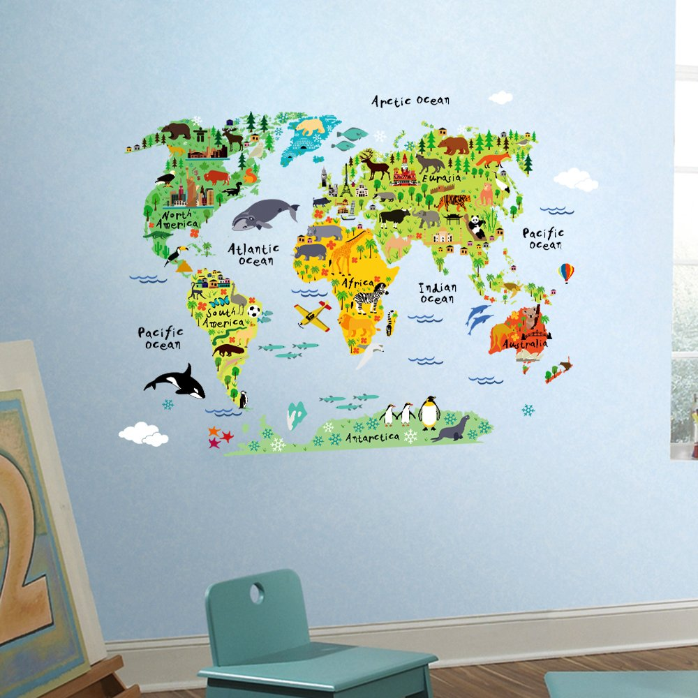 DETAILS. Wall Decals Large Kids Educational Animal World Map Kids Room ...