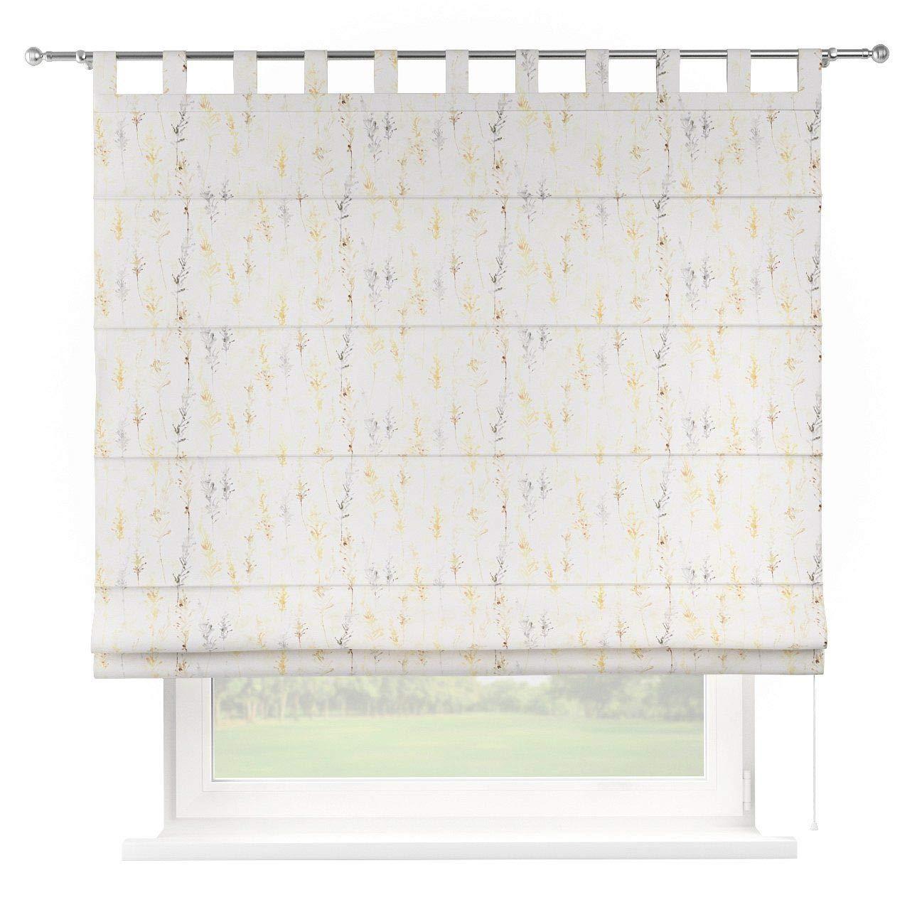 Dekoria Raffrollo Verona ohne Bohren Blickdicht Faltvorhang Raffgardine Wohnzimmer Schlafzimmer Kinderzimmer 160 × 170 cm gelb-grau Raffrollos auf Maß maßanfertigung möglich