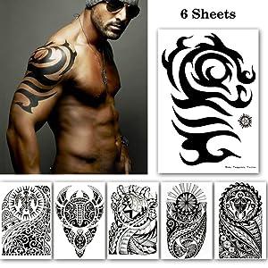 Leoars Black Large Temporary Tattoos, Big Tribal Totem Tattoo Sticker for Men Women Body Art Makeup, Fake Tattoo Waterproof Removable, 6-Sheet