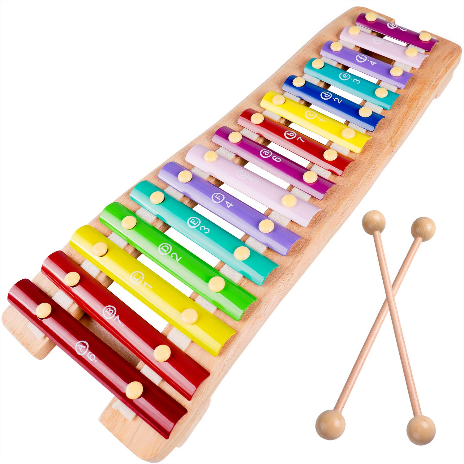 rolimate Wooden Educational Preschool Learning 15 Key Notes Chromatic Glockenspiel Xylophone Toys, Best Christmas Gift for for age 3 4 5 Years Old and Up Toddlers Kids Baby Children Boys Girls by rolimate