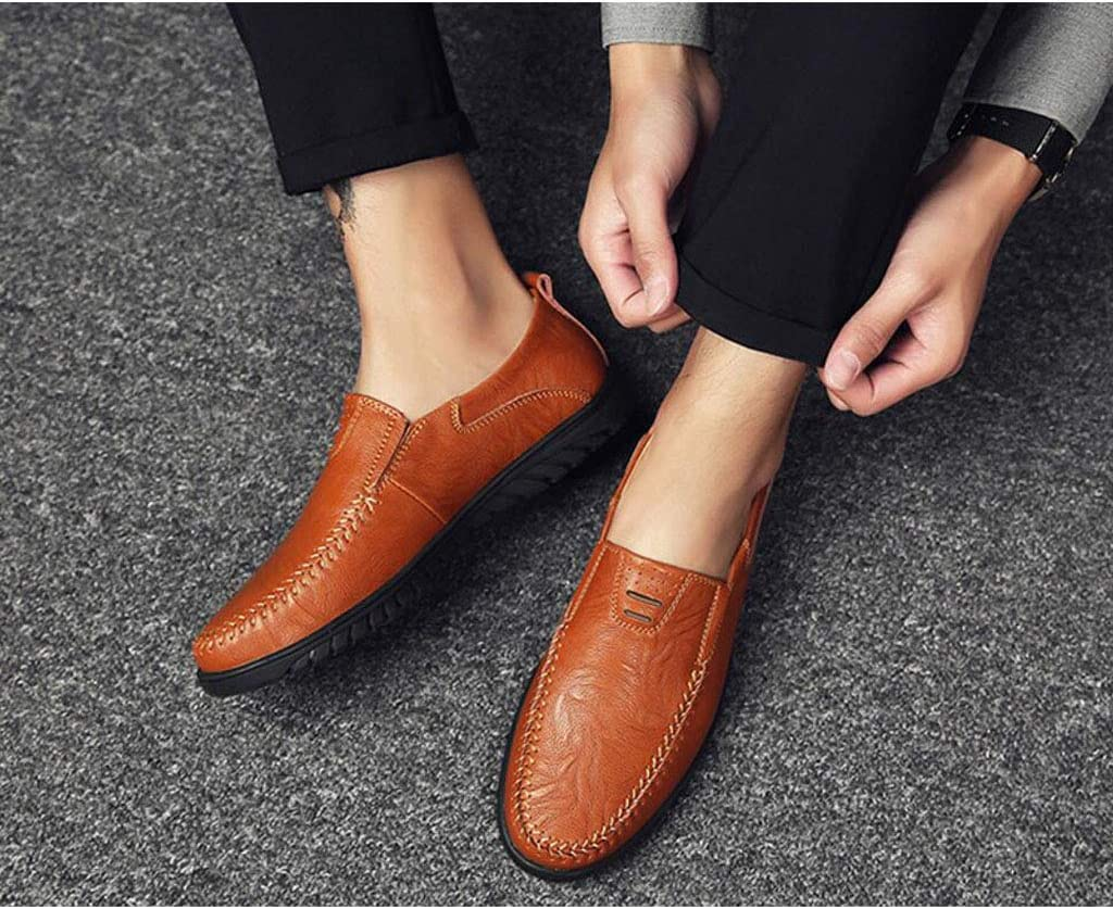 Color : Brown, Size : 43 EU zxcvb Men Loafer Slip-on Shoes Cushion Slip Resistant Genuine Leather Fashion Driving Boat Sneakers Casual Walking Performance Dress Shoes