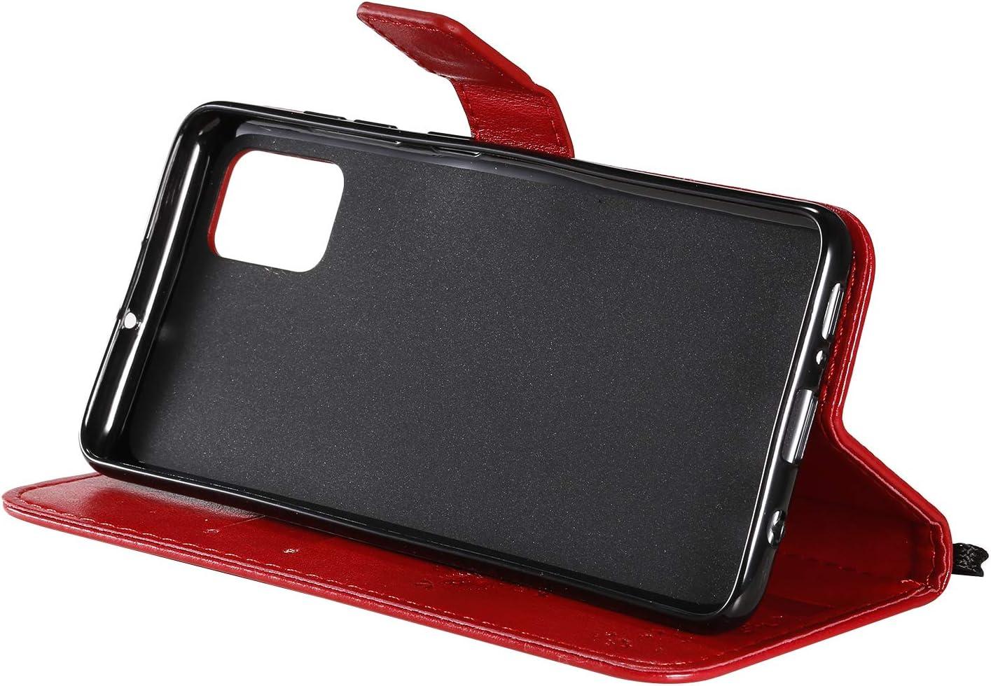 Hancda /Étui de protection /à rabat en cuir avec fermeture aimant/ée pour Samsung Galaxy A51 Coque rouge
