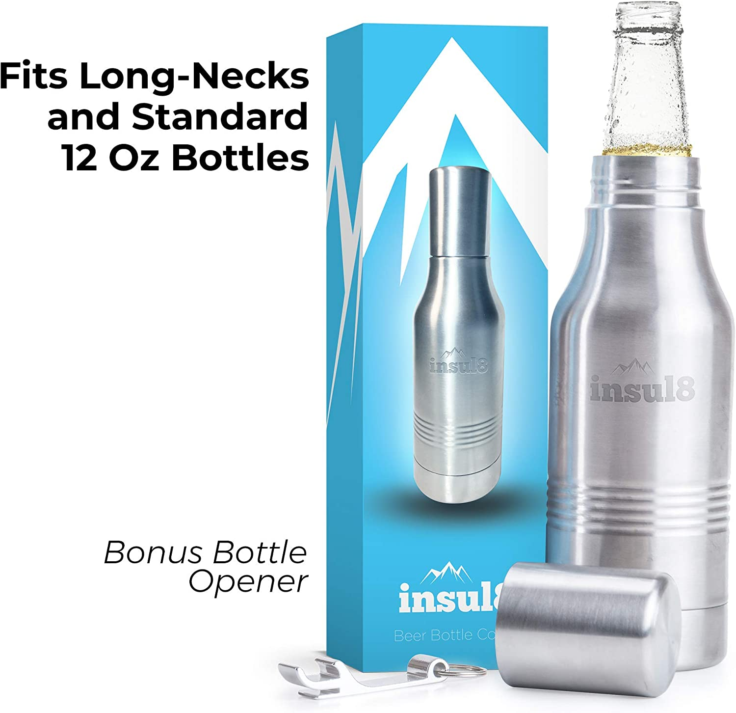 The Original Insul8 Beer Bottle Cooler   Double Wall Insulated Beer Bottle Holder Stainless Steel Fits 12 oz.