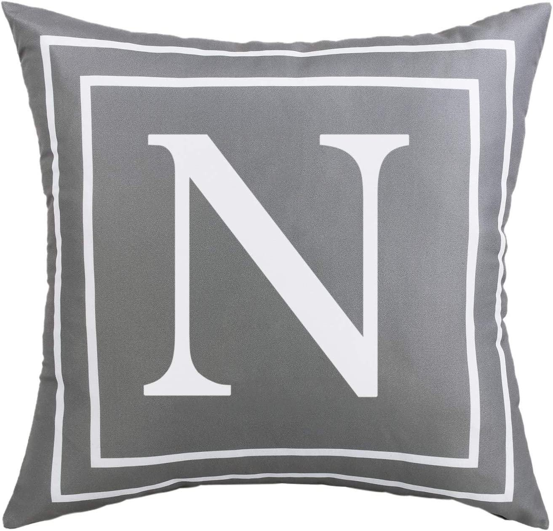 Fascidorm Gray Pillow Cover English Alphabet N Throw Pillow Case Modern Cushion Cover Square Pillowcase Decoration for Sofa Bed Chair Car 18 x 18 Inch