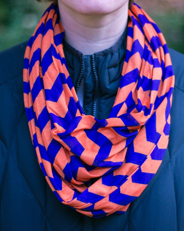 Orange /& Purple Chevron Infinity Scarf