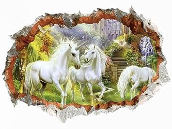 WandSticker4U- Wandtattoo in 3D Optik: MÄRCHENWELT | Wandbild: 50x70 cm |  Wandsticker Pferd Wald Horse Wandaufkleber Einhörner Poster Einhorn | Deko  ...