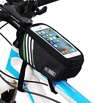Bolso para Bicicletas Bolsa de manillar con Bolsa de PVC para Móviles Alforja MTB (Negro