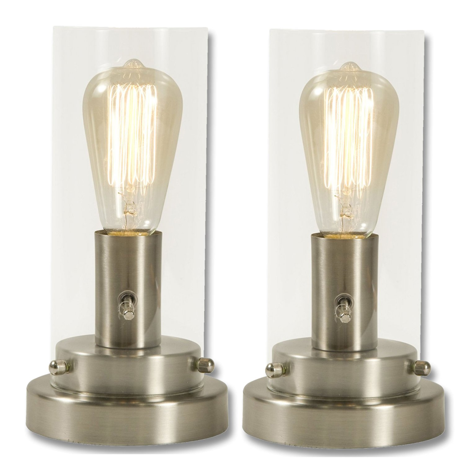 Cylinder Glass and Steel Table Lamp with Vintage Edison Bulb (Brushed Nickel (2 Pack))