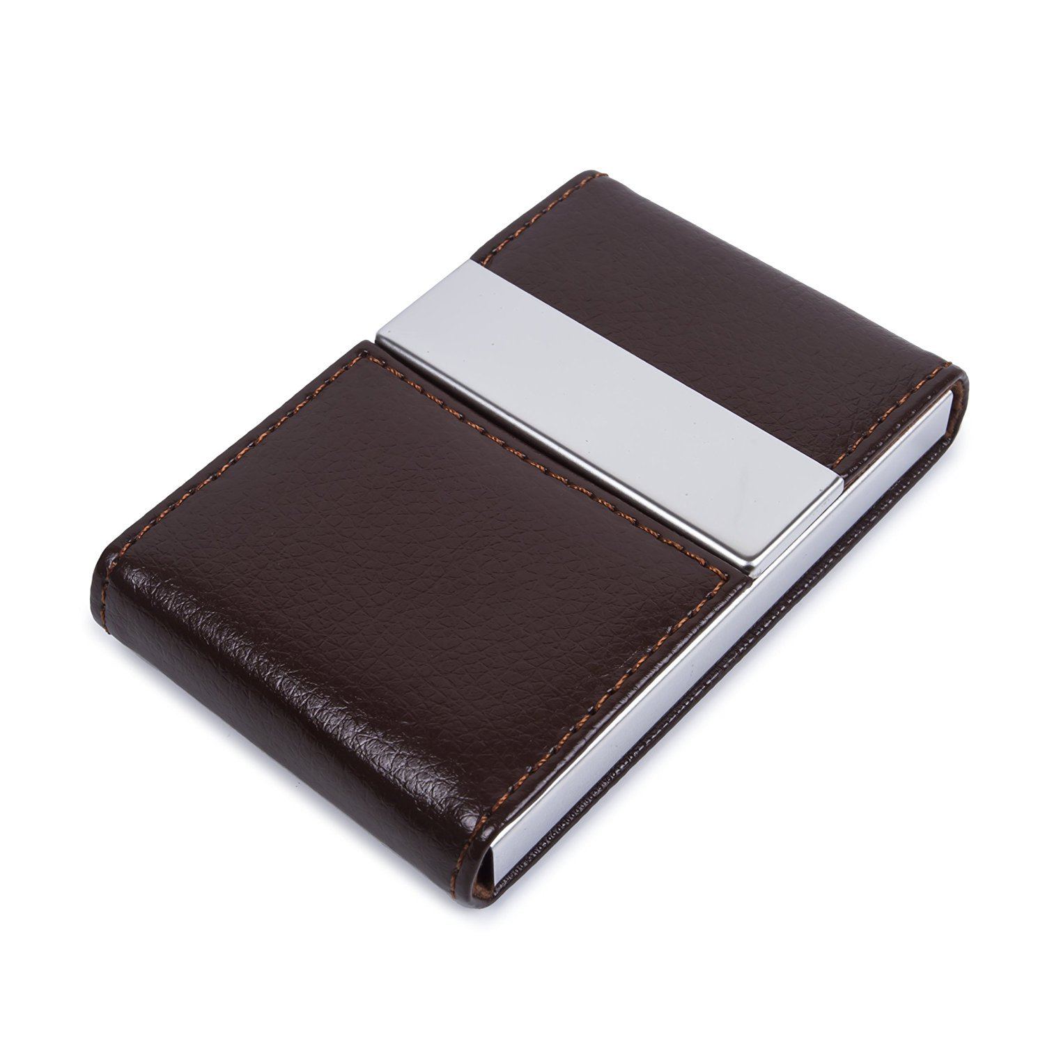 Pettom Minimalist Creative Slim Leather Stainless Steel Business Card Holder Credit Name Card Case Light Money Clip Wallet with Magnetic Shut (brown)