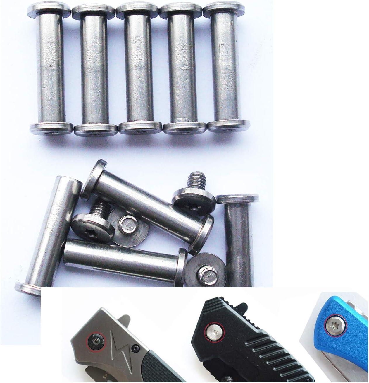 cuchillos EDC remaches de tornillos pasadores de pivote de cuchillos plegables 12mm paquete de 10 remaches de mango de cuchillo de bricolaje Pernos Corby de navaja de bolsillo