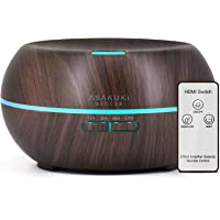 ASAKUKI Essential Oil Diffuser with Remote Control, 500ml Cool Mist Humidifier, 16 Hours Operation Aroma Diffuser with Waterless Safety Switch & 14 LED Colors