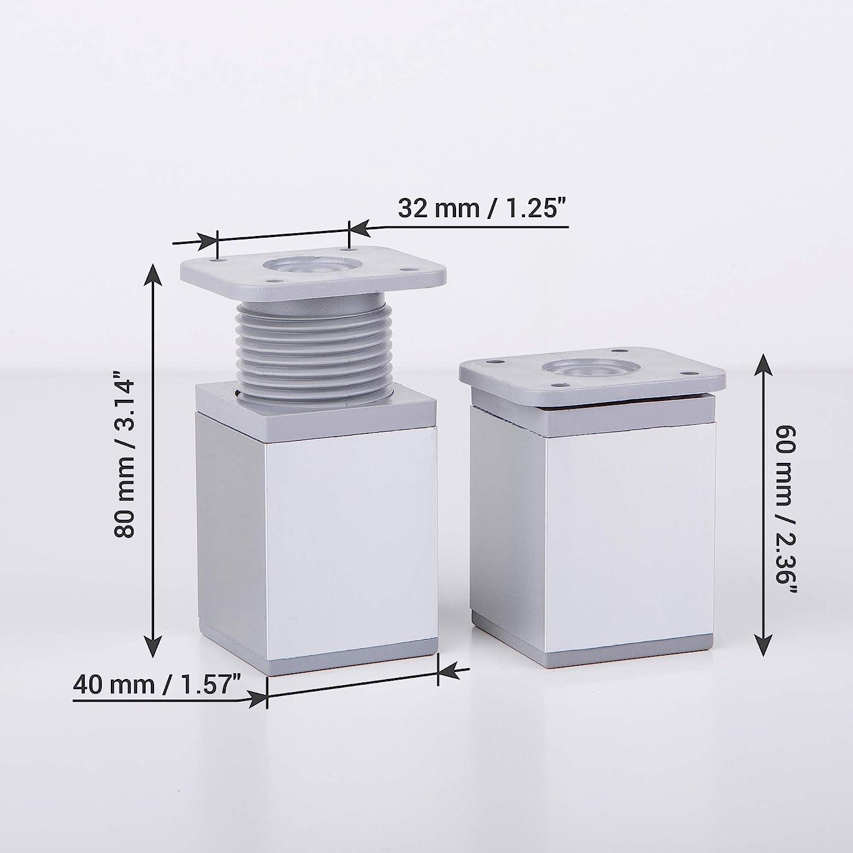 tornillos incluidos aluminio Patas angulares para muebles 4 unidades, altura ajustable, 40 x 40 mm material: pl/ástico 4 x 6 cm