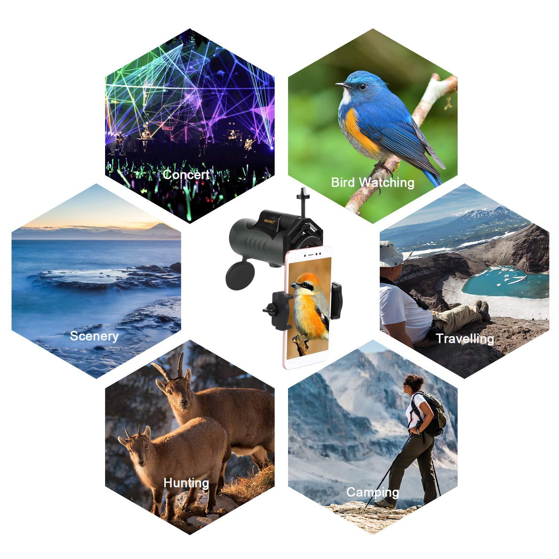 Viajes y Acampadas Compacto y de Bolsillo para Adultos y Ni/ños USCAMEL 8X42 Telescopio Monocular Observaci/ÓN de Aves con Adaptador para Tel/ÉFono Ejercito Verde