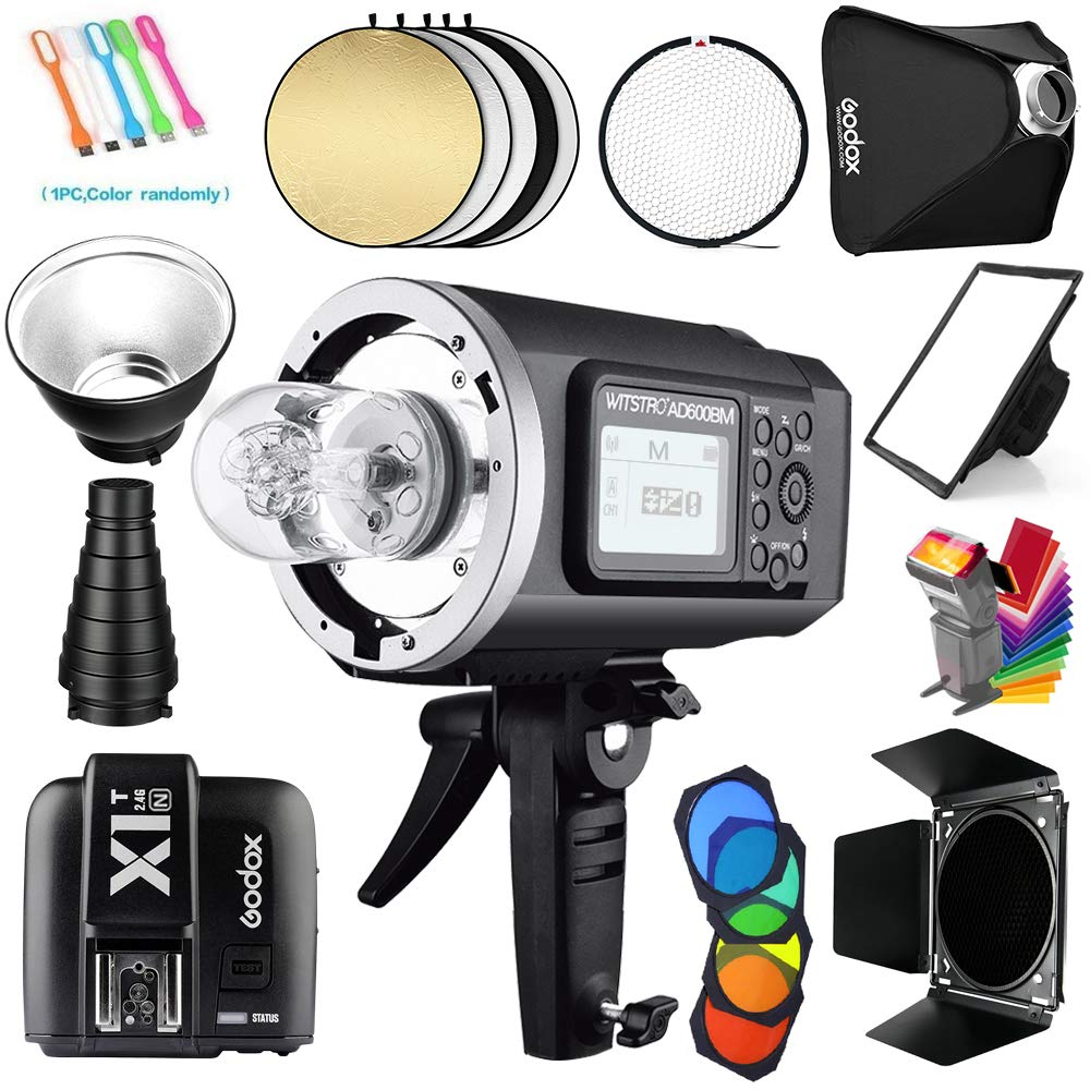 Godox AD600BM Bowens Mount 600Ws GN87 1/8000s HSS Outdoor Flash Strobe Studio Monolight with X1T-C Wireless Trigger Transmitter Compatible for Canon Cameras &32x32inch Softbox&Standard Reflector&Snoot by Godox