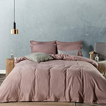 Easy Care,Simple Style,Solid Color Pattern Duvet Cover King Size 104x90 No Comforter JELLYMONI Pink Duvet Cover Set,3-in-1 Luxury Button Bedding Set,Ultra Soft Microfiber