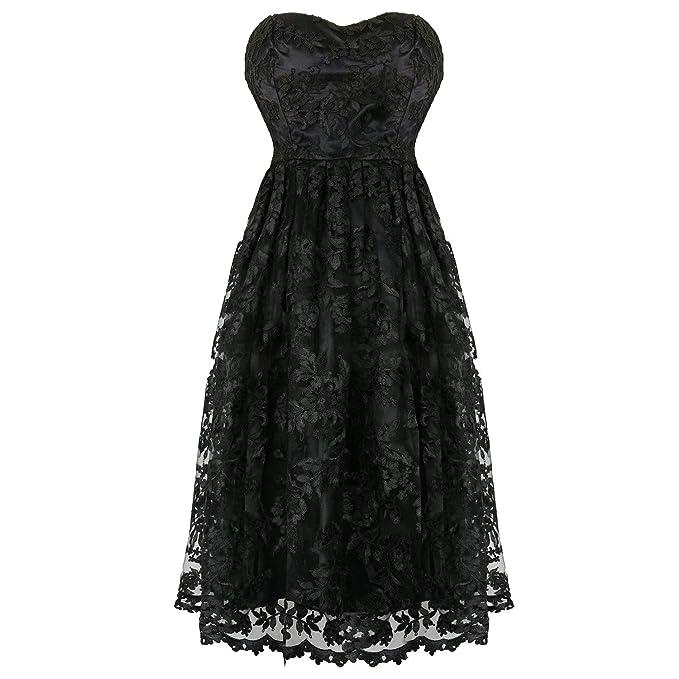 Hearts & Roses Londres Encaje Negro Victoriano Gótico Steampunk Vintage Vestido de Fiesta - Negro,
