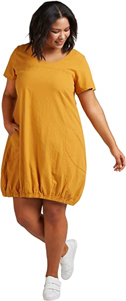 Zizzi Damen Weiches Kleid Knielang Kurzarm Basic Sommerkleid Große Größen 42 56