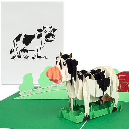 PaperCrush - Tarjeta pop-up con diseño de vaca: Amazon.es ...
