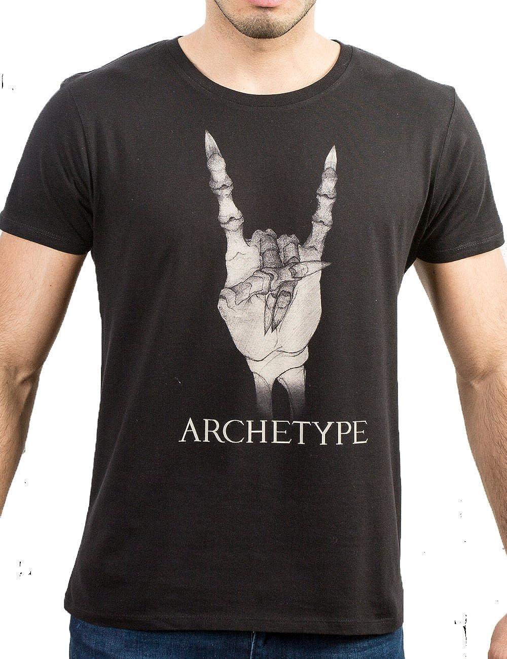 Archetype, camiseta hombre con símbolo rockero, mano metálica. X-Large: Amazon.es: Ropa y accesorios