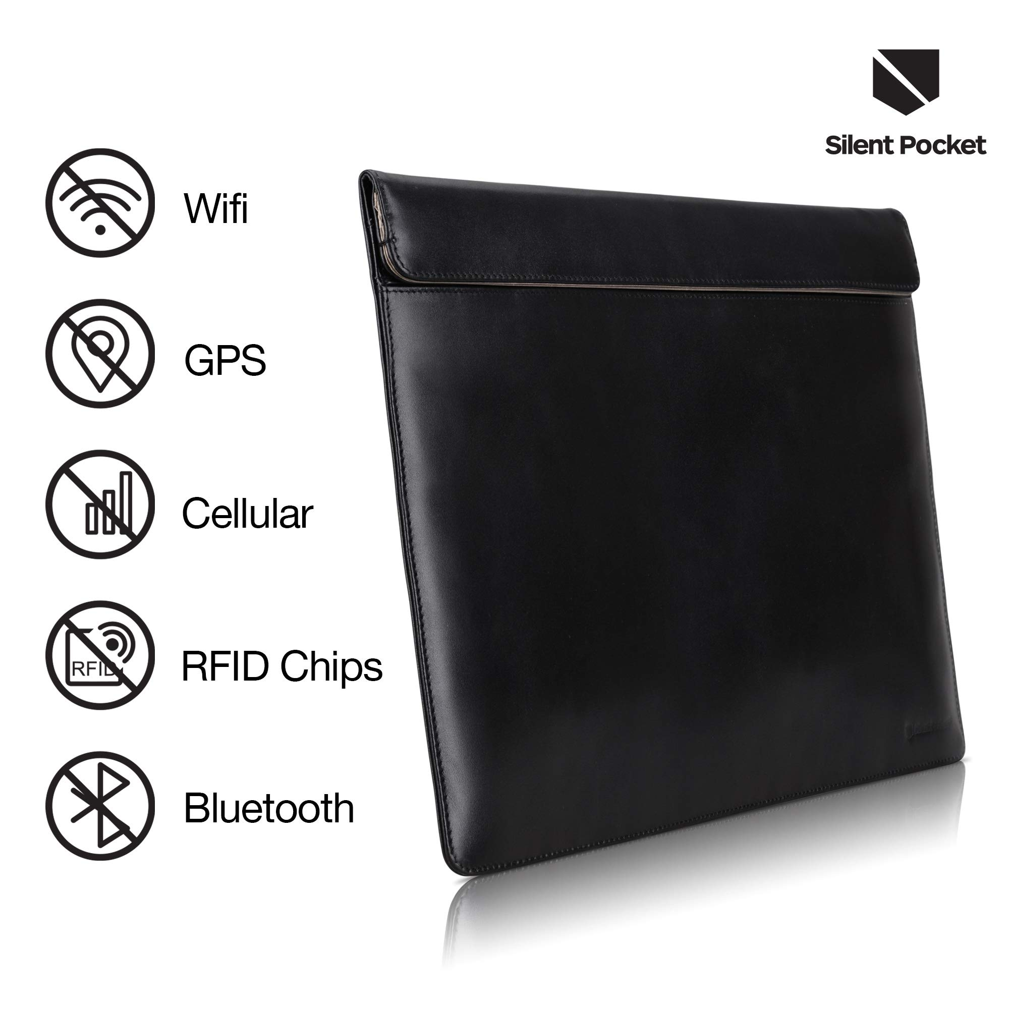 Silent Pocket Waterproof Nylon Faraday Bag, Signal Blocking Device Sleeve for 13 inch and 15 inch Laptops and Tablets - Instant Protection (13 inch, Black Leather)