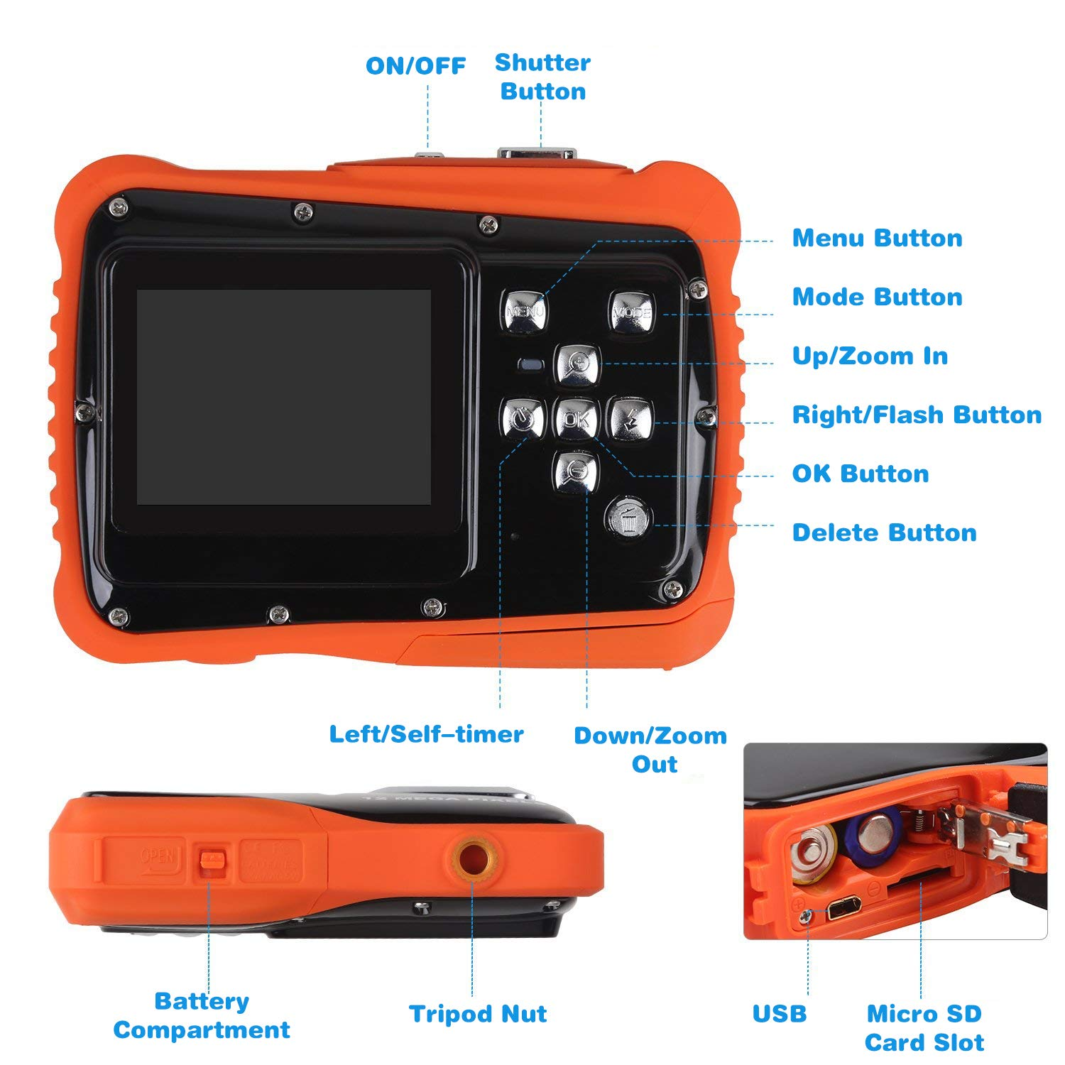 Kids Waterproof Camera Digital Camera for 4-10 Years Old Children, 12MP HD Underwater Action Camera Camcorder with 8X Digital Zoom, 2.0 Inch LCD Display, 16G Micro SD Card - Easy to Use (Orange) by tesha (Image #5)