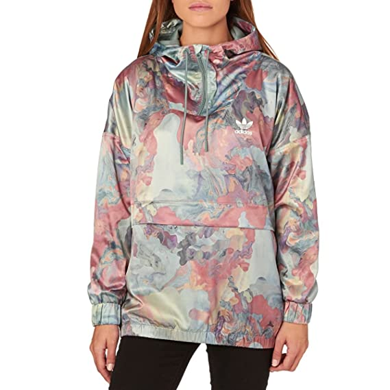 9c1f81841b91 adidas Womens Originals Pastel Camo Satin Hooded Jacket Mult Size UK 8   Amazon.co.uk  Clothing