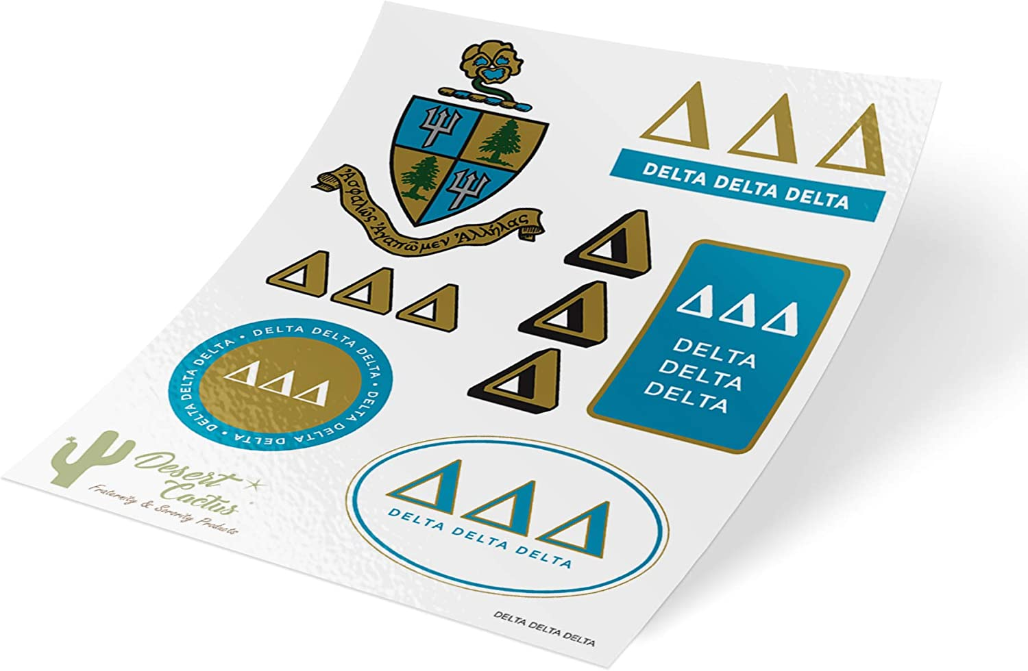 Delta Delta Delta Standard Sticker Sheet Decal Laptop Water Bottle Car tri Delta (Full Sheet - Standard)