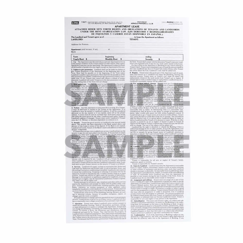 Amazon Com New York Residential Lease Form 327 8 5 X 14