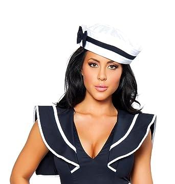 Amazon.com: Sexy sailor gorro para mujer w/lazo azul militar ...