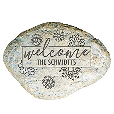 "GiftsForYouNow Engraved Welcome Personalized Garden Stone, 11"" W, Durable, Waterproof, Indoor/Outdoor : Garden & Outdoor"