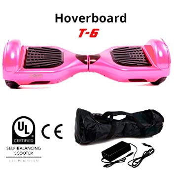 BC Babycoches patinete electrico hoverboard monopatin autoequilibrio TecnoBoards T6, 6,5 pulgadas COLOR ROSA