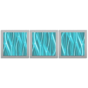 Turquoise / Teal / Blue Wall Art U0027Turquoise Essenceu0027   38x12 In.