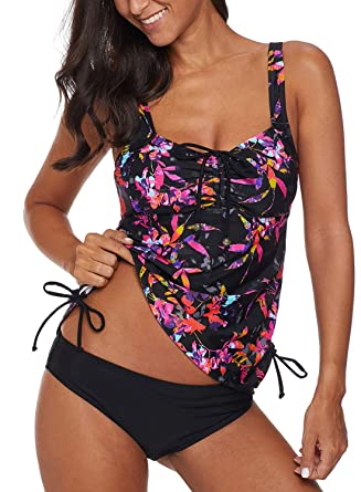 082911d2fdca3 Dearlove Womens Floral Printed Push Up Tankini Set Padded Bathing Suit Tie  Knot Two Piece Blouson