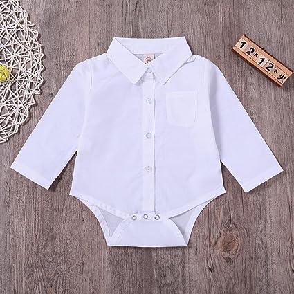 Yannerr Bebé niña niño manga larga camiseta tops Sólido mono ...