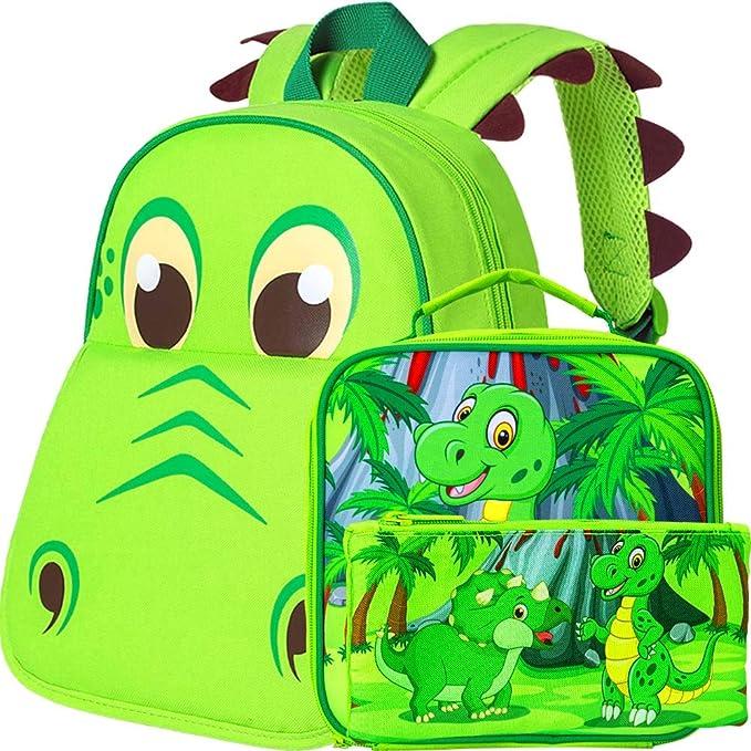 "12/"" Dinosaur Preschool Bag Set Toddler Backpack and Lunch Bag for Boys"