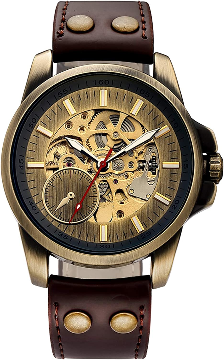 Carrie Hughes Men s Bronze Steampunk Automatic Mechanical Skeleton Brown Leather Watch CH240