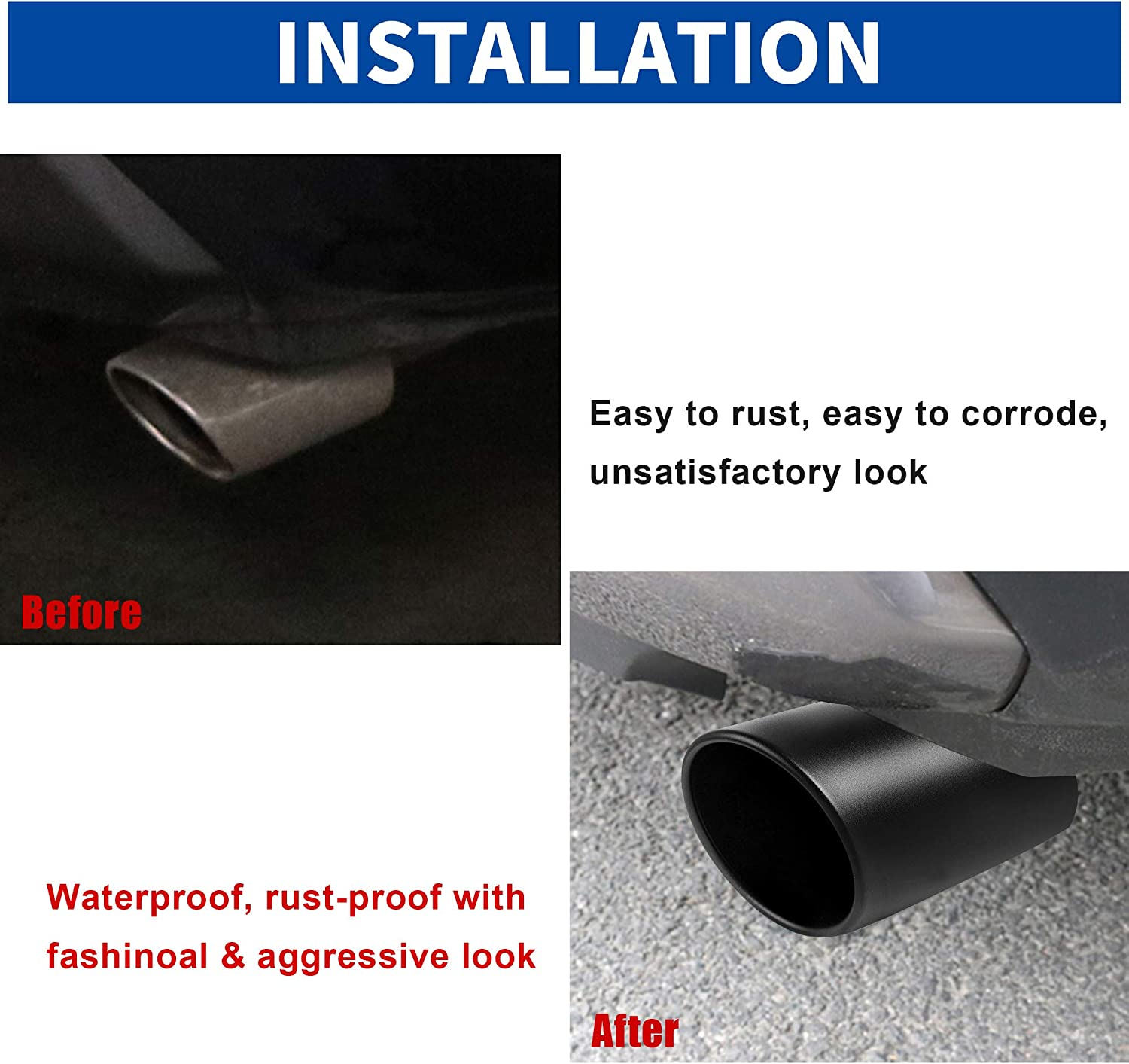 Bolt On Design 3 inlet to 5 outlet Exhaust TIP,3 x 5 x 12 in Black Stainless Steel Exhaust Tip