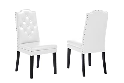 Amazing Baxton Studio Dylin Modern Contemporary Faux Leather Button Tufted Nailheads Trim Dining Chair Set Of 2 White Machost Co Dining Chair Design Ideas Machostcouk