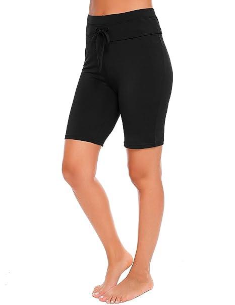 f9d85a2fe509c Ekouaer Women Solid Stretch Board Shorts Cycling Gym Running Yoga Swimming  Shorts  Amazon.co.uk  Clothing