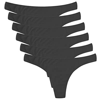 ELACUCOS 6 Pack Women's Thongs Cotton Breathable Panties Bikini Underwear: Clothing