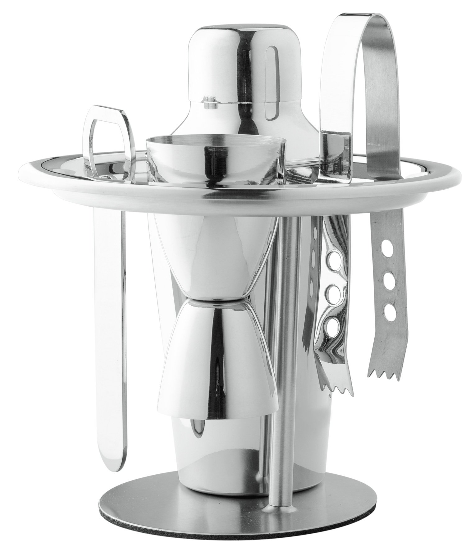 Chef's Star 6 Piece Stainless Steel Compact Bar Set - Includes - Ice Bucket Cocktail Shaker Set - Martini Shaker Set Bar Tool Stand Bottle Opener Double Jigger Ice Tong
