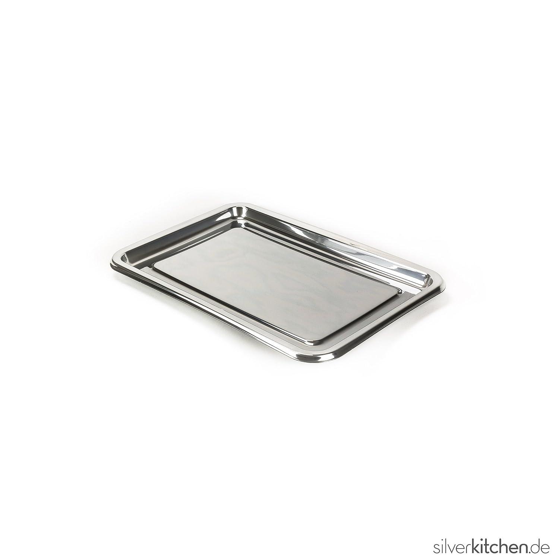 Bandeja de servir, de alta Class de plástico, desechables - Plata, 35 x 24 cm, 1 Stück: Amazon.es: Hogar