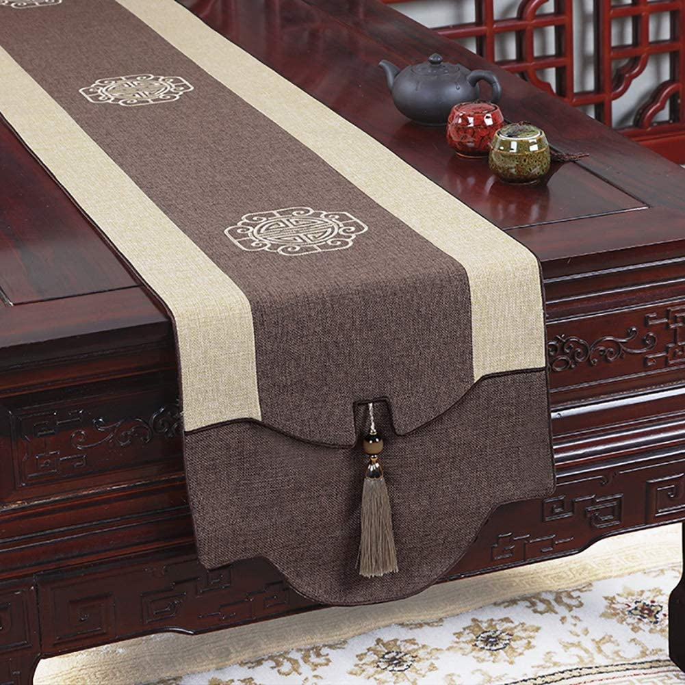 Amazon Com Zjm Elegant Table Runners For Small Table Coffe Table Dresser Foyer Table Well Made Embroidered Table Runners Color Brown Size 33x250cm Home Kitchen
