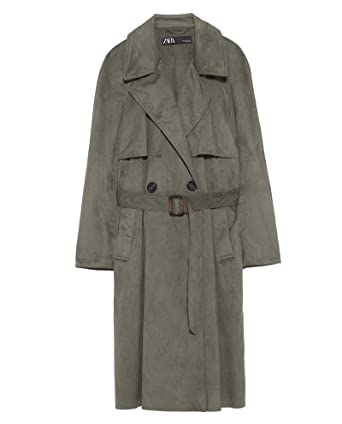 724e980a Zara Women's Faux Suede Double-Breasted Trench Coat 6318/029 (Medium) Green