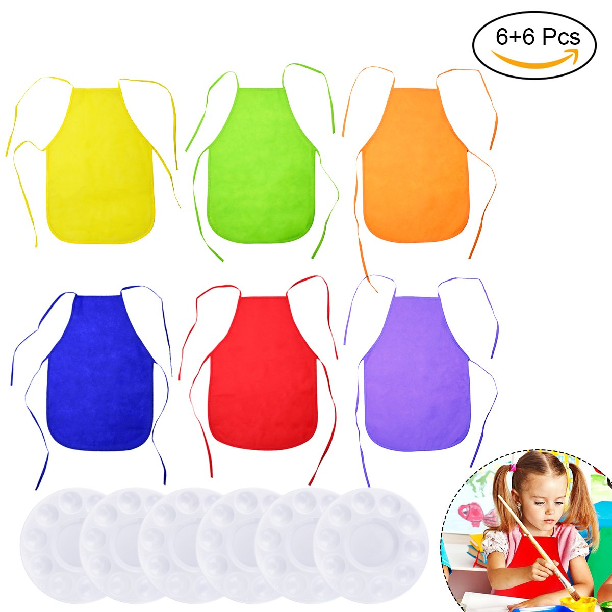 TinTop 12 Packs Chidren's Aprons Plastic Painting Pallete Painting Pallete Tray for Chidren DIY Artist Craft Painting Colorful Aprons for Birthday Party