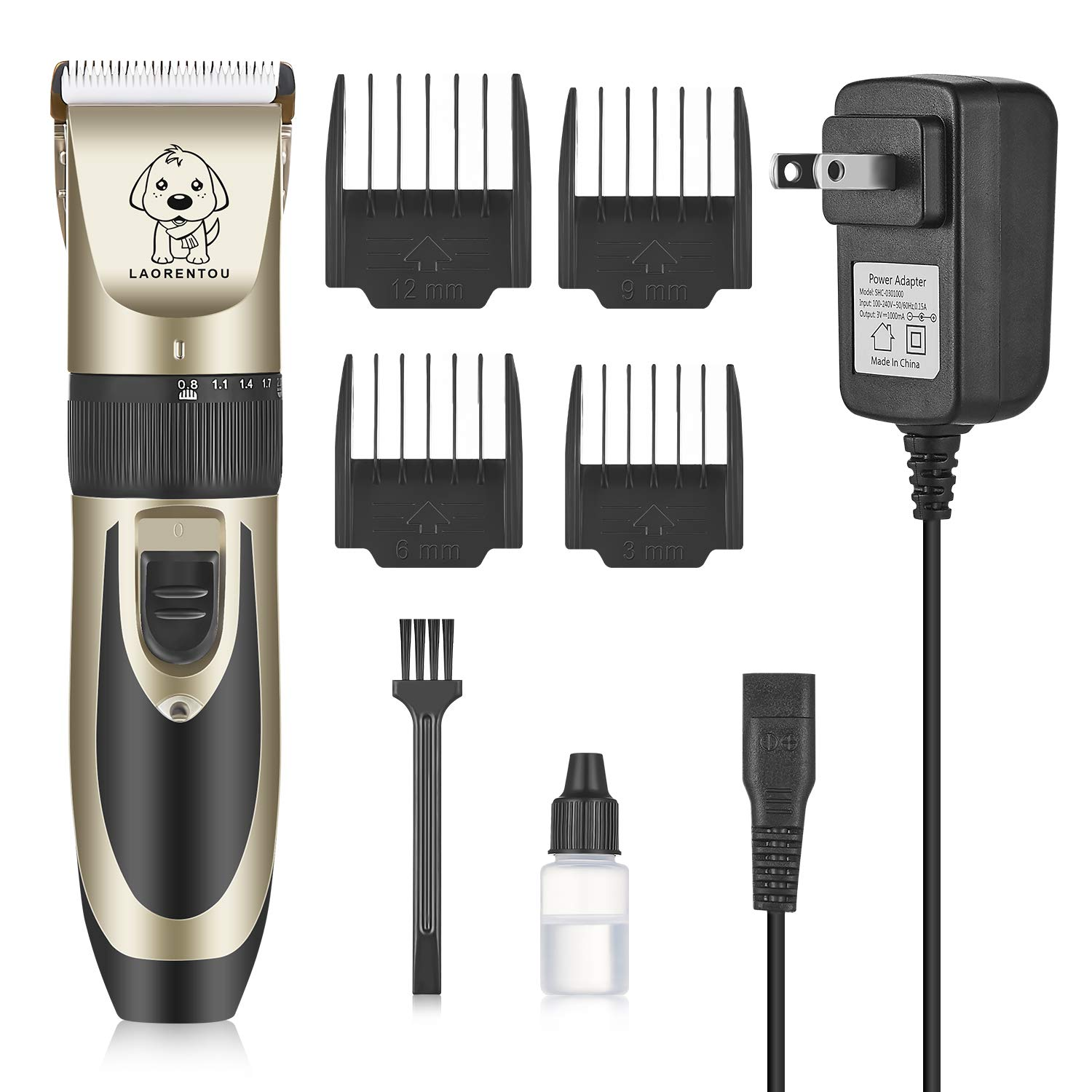 Pet Clippers-Professional Electric Pet Hair Shaver with 4 Guard Combs ,Cordless & Rechargeable, Dual Stainless Steel & Ceramic Blades, Cat & Dog Grooming, Trimming, Shaving, Clipping, Highly Portable by YIKELONG