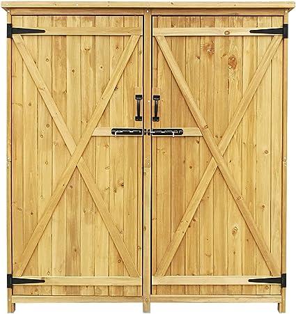 Armario de jardín con 2 puertas 1350x500x1540mm cobertizo, caseta ...