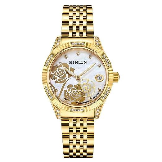 Binlun Damen Armbanduhr Von Hand Besetzt Mit Diamanten Rosen
