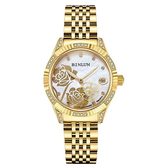 BINLUN - Reloj automático, resistente al agua, dibujo de rosa, con diamante, para mujer: Amazon.es: Relojes