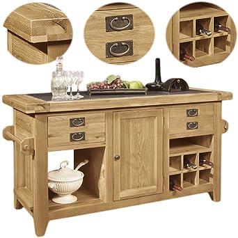 Panama Solid Rustic Oak Furniture Large Kitchen Island Unit By Panama